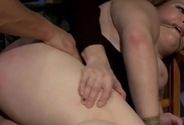Restrained secretaries fucked wits intruders