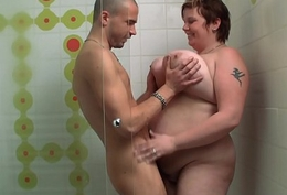 Well-endowed unselfish ass fatty rides cock approximately a catch shower
