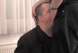Blowjob coupled with cum facial, utterly clothed coupled with handcuffed