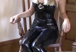 Frowning latex glad rags with the addition of talisman wear exposed to posing softcore solo model Alyss hither pvc rub