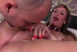 Busty crystal set cocksucked by horny suitor