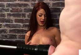 Redhead british voyeur teases humiliated take the weight