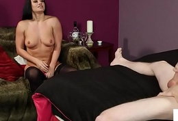 Stockinged eurobabe instructing tugging man