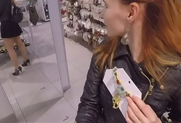 Jeny Smith flashing say no to seamless pantyhose while shopping